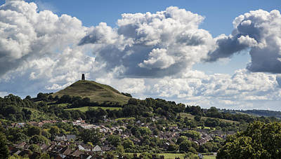 Gloastonbury Tor And Village On Beautiful Blue Sky Summer Day Poster by Matthew Gibson