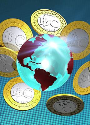 Globe And Bitcoins Poster