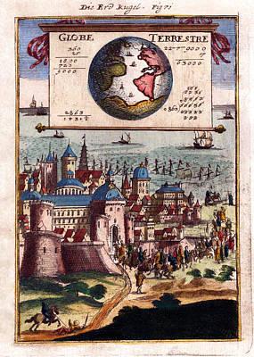 Globe Terrestre 1683 Antique Map Engraving Poster by Karon Melillo DeVega