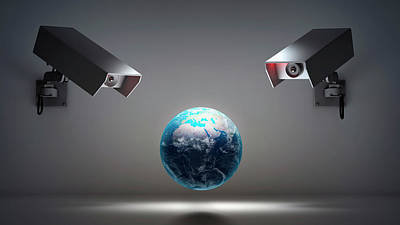 Globe With Security Cameras Poster