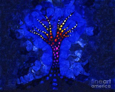 Glow Tree Blue Poster by Pixel Chimp