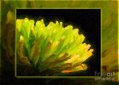 Glowing Green Flower Abstract Painting Poster