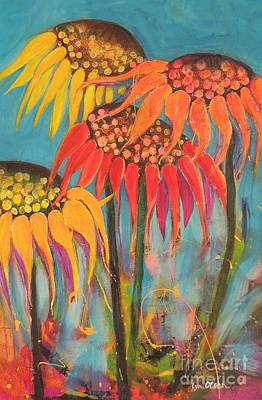 Poster featuring the painting Glowing Sunflowers by Lyn Olsen