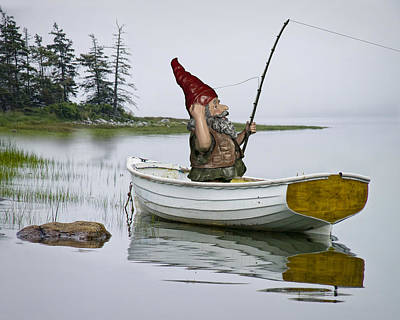 Gnome Fisherman In A White Maine Boat On A Foggy Morning Poster