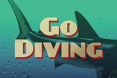 Go Diving Shark Poster by Flo Karp