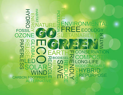 Go Green Word Cloud Green Background Poster