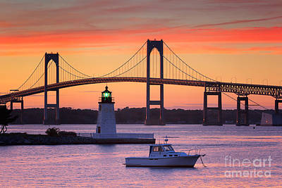 Goat Island Lighthouse And Newport Bridge At Sunset Poster