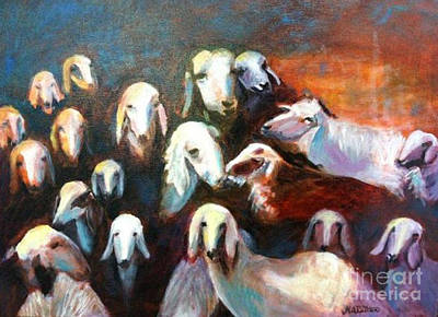 Poster featuring the painting Goat Reunion by Marcia Dutton