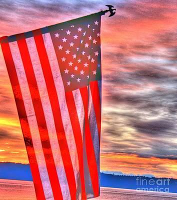 God Bless America Over Puget Sound Poster