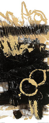 Gold And Blackabstract Panel II Poster by Mike Schick