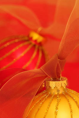Gold And Red Ornaments With Ribbons Poster by Carol Leigh