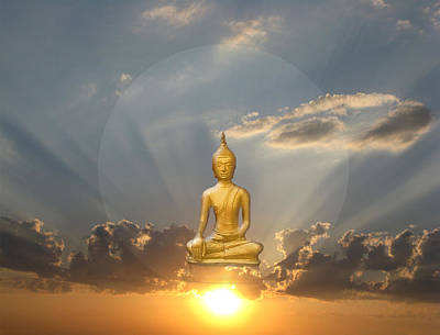 Gold Buddha Meditation Poster by Gill Piper