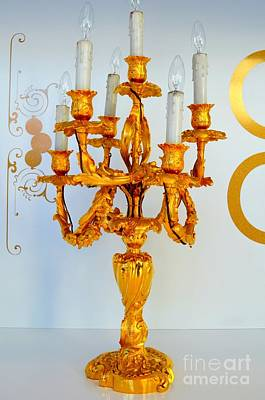 Gold Candelabra Poster by Mary Deal