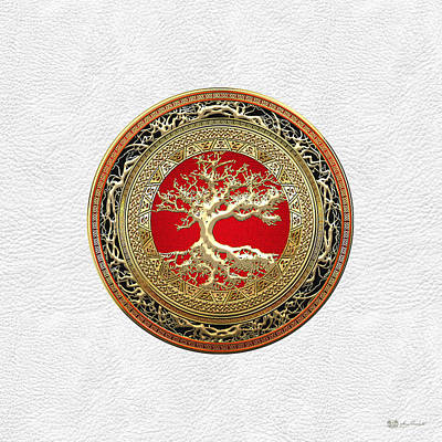 Gold Celtic Tree Of Life On White Leather  Poster by Serge Averbukh