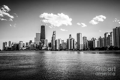 Gold Coast Skyline In Chicago Black And White Picture Poster by Paul Velgos