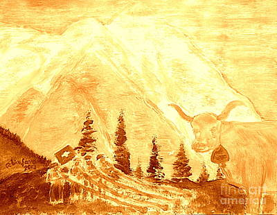 Gold Eiger Mountain Above Grindelwald Switzerland 2 Poster by Richard W Linford