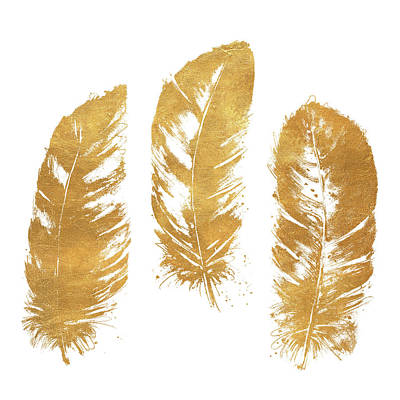 Gold Feather Square Poster by Patricia Pinto