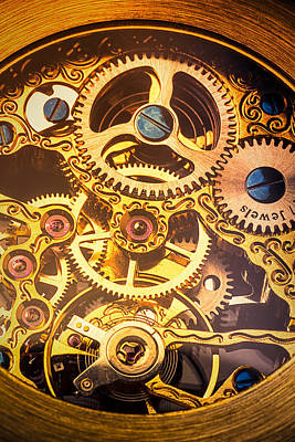 Gold Pocket Watch Gears Poster