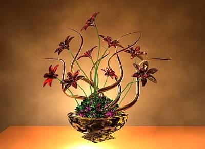 Gold Spirals Glass Flowers Poster by Louis Ferreira