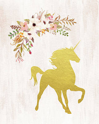 Gold Unicorn Floral Poster