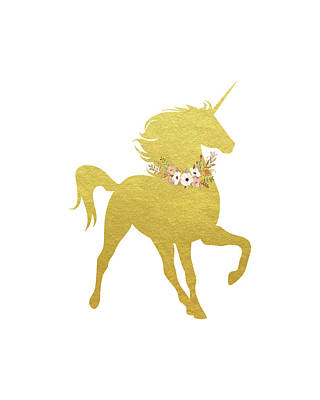 Gold Unicorn Poster by Tara Moss