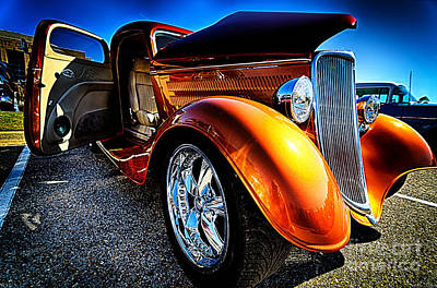 Gold Vintage Car At Car Show Poster by Danny Hooks