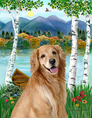 Poster featuring the digital art Golden At The Lake by Jean B Fitzgerald