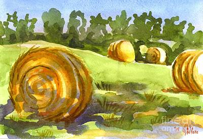 Golden Bales In The Morning Poster by Kip DeVore