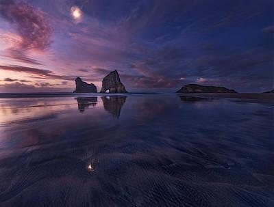 Golden Bay When Night Falls Poster by Yan Zhang