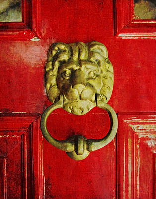 Golden Brass Lion On Red Door Poster