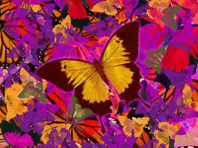 Golden Butterfly Painting Poster by Alixandra Mullins