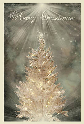 Golden Christmas Tree Poster by Kristie  Bonnewell