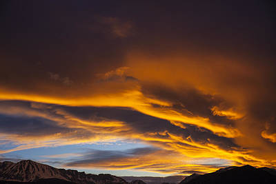 Golden Clouds Over Sierras Poster