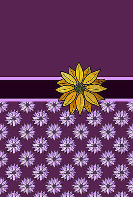 Golden Daisy On Plum Poster by Jenny Armitage