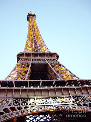 Poster featuring the photograph Golden Eiffel by Deborah Smolinske