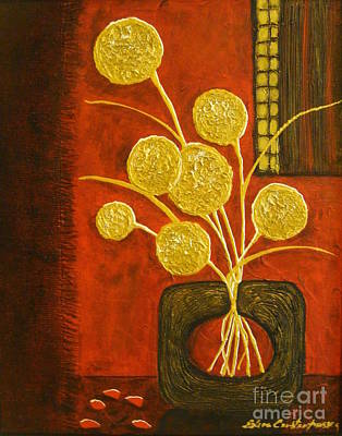 Golden Flowers Poster by Elena  Constantinescu