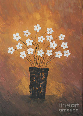 Golden Flowers Poster by Home Art