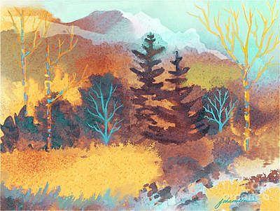 Golden Forest Poster by Joan A Hamilton