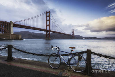 Golden Gate Bridge Bike Ride Poster by Mel Ashar