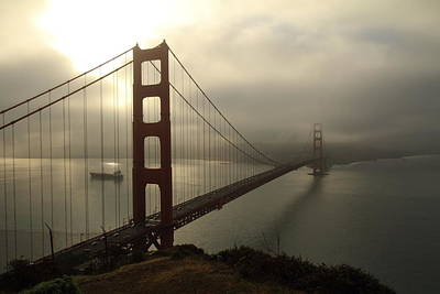 Poster featuring the photograph Golden Gate Bridge Fog Lifting by Scott Rackers