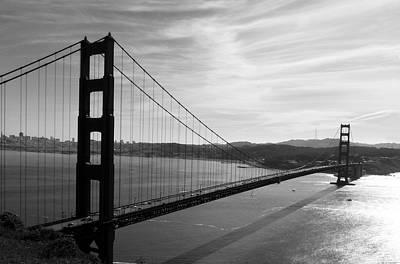 Golden Gate Bridge In Black And White Poster