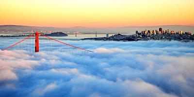 Golden Gate Bridge In Fog At Sunset Poster