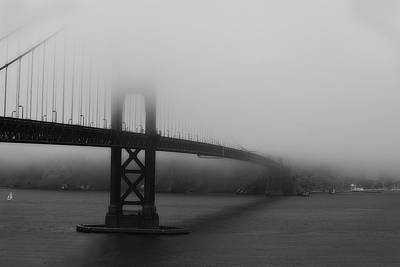 Poster featuring the photograph Golden Gate Bridge In Fog by Chuck Caramella