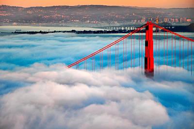 Golden Gate Bridge In Fog Poster