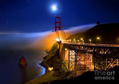 Golden Gate Bridge Moon Fog Mystery Poster
