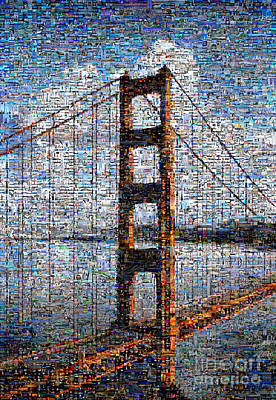 Golden Gate Bridge Mosaic Poster by Wernher Krutein