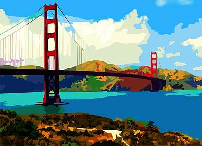 Poster featuring the digital art Golden Gate Bridge by P Dwain Morris