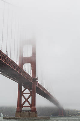 Golden Gate Bridge Shrouded In Fog Poster by Adam Romanowicz