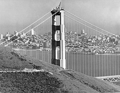Golden Gate Bridge Tower Poster by Underwood Archives