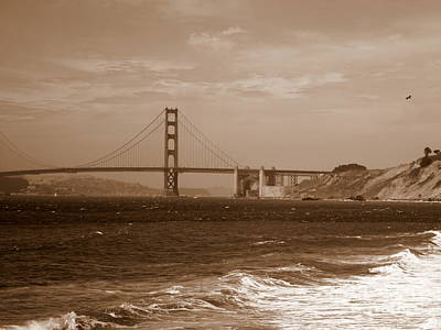 Golden Gate Bridge With Surf Sepia Poster